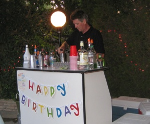 Manning the birthday bar