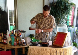 Pouring Jamaican Rum Punch