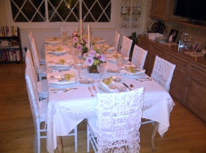 Formal dinner party setting