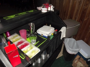 Portable bar on rollers