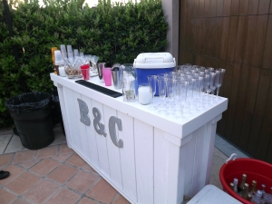 Back yard engagement party bar