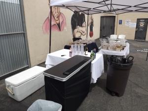 Portable bar set up in North Hollywood