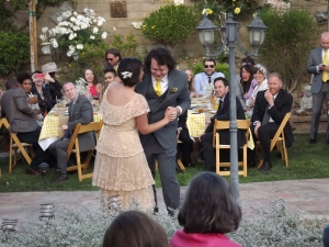 Bride and groom have first dance