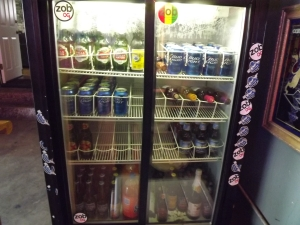 Well stocked beer refrigerator