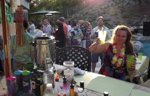 Guests mingle at Luau in Newberry Park