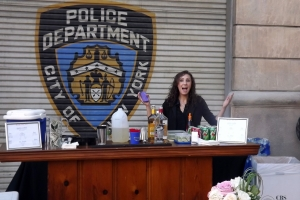 Mia bartending at New York Street