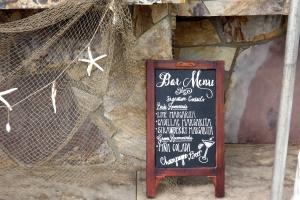 Bar menu at wedding reception