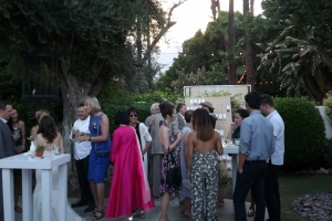Guests mingle at cocktail hour