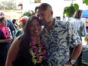 The Newly-weds at their Venice luau