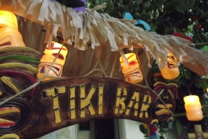 Fully decorated tiki bar