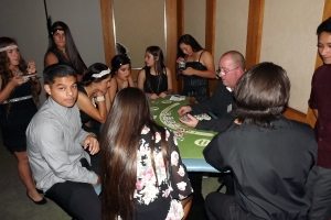 Blackjack table at Sweet 16 party