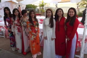 Pretty girls in traditional dresses