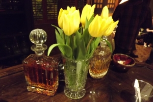 Crystal decanters and tulips