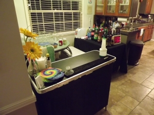 My portable bar set up in kitchen