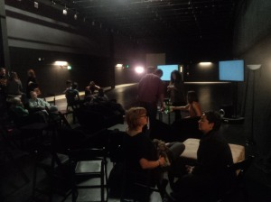Guests relax in green room during taping