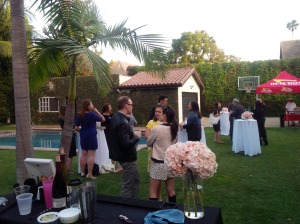Guests mingle during cocktail party
