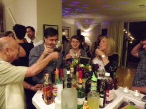 Friends and family enjoy a toast