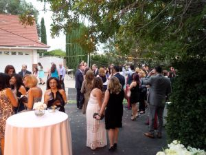 Guests arriving to Porter Ranch engagement party