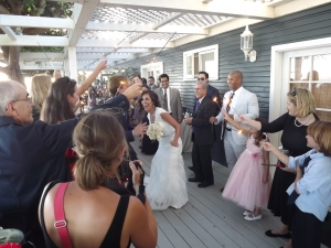 Bride goes through the sparkler gauntlet