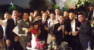 Groom and friends at Diamond Bar Center