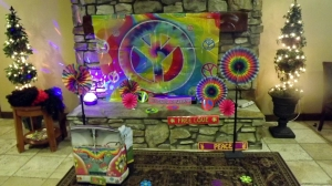 Hippie backdrop at 50th birthday party
